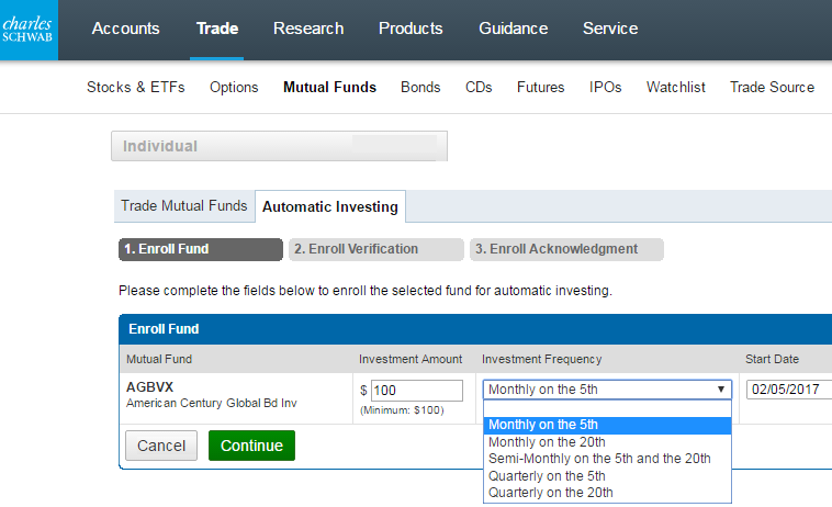 Charles Schwab Automatic Investment Plan 2017
