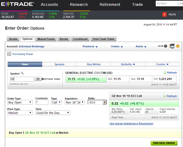 Options trading at etrade