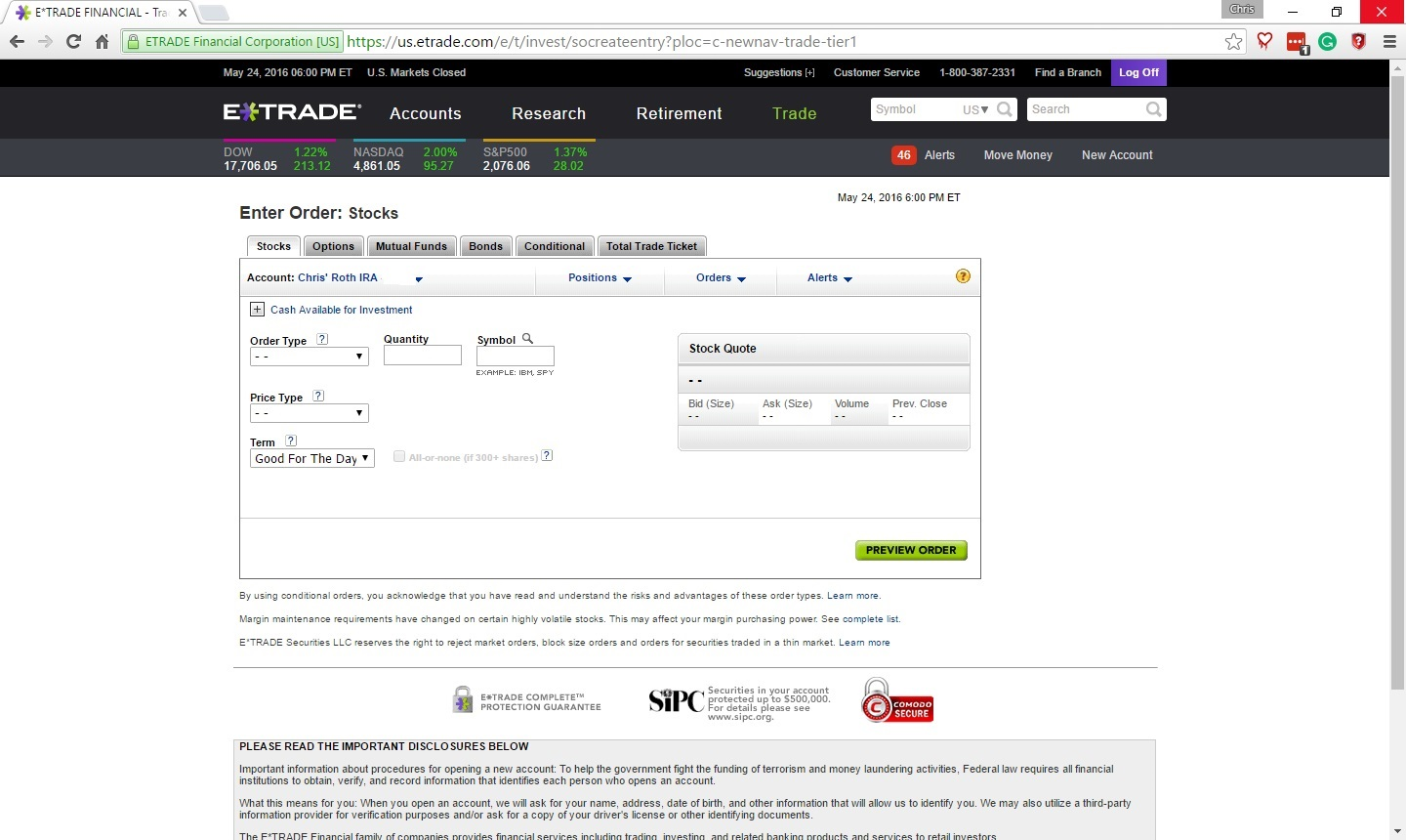Trading stock options on etrade