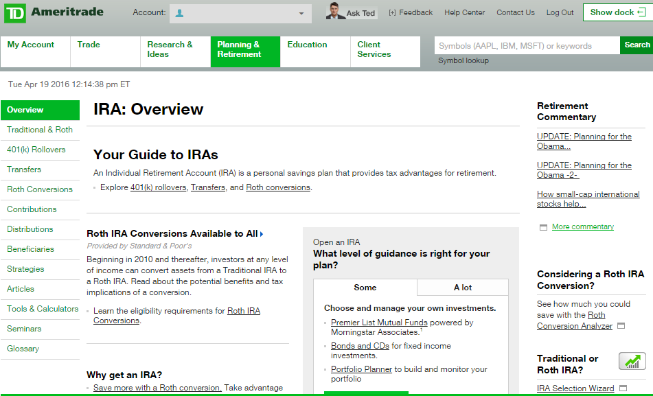 TD Ameritrade IRA Review: ROTH, Fees, Account Rollover, Offer
