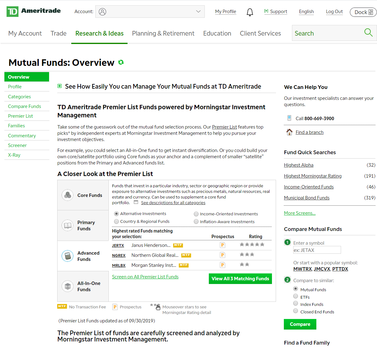 TD Ameritrade Mutual Funds Review