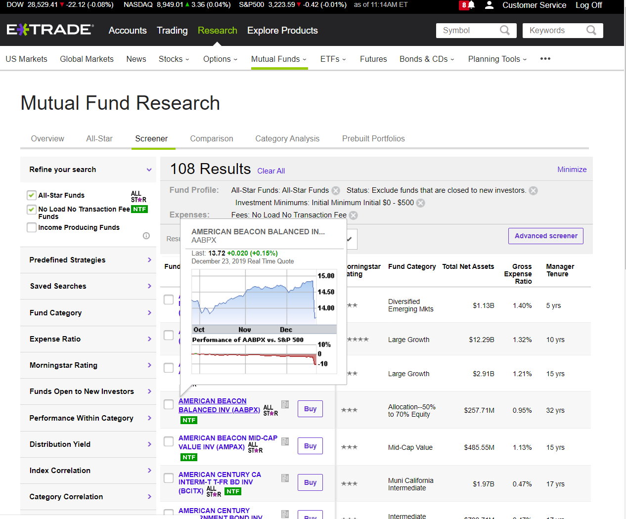 Etrade Mutual Funds Screener