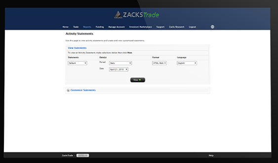 Zacks Trade Review: Website