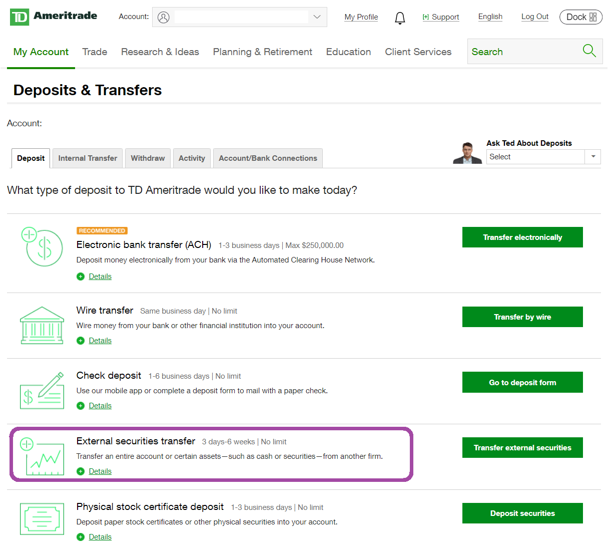 Td Ameritrade Funds Withdrawal Account