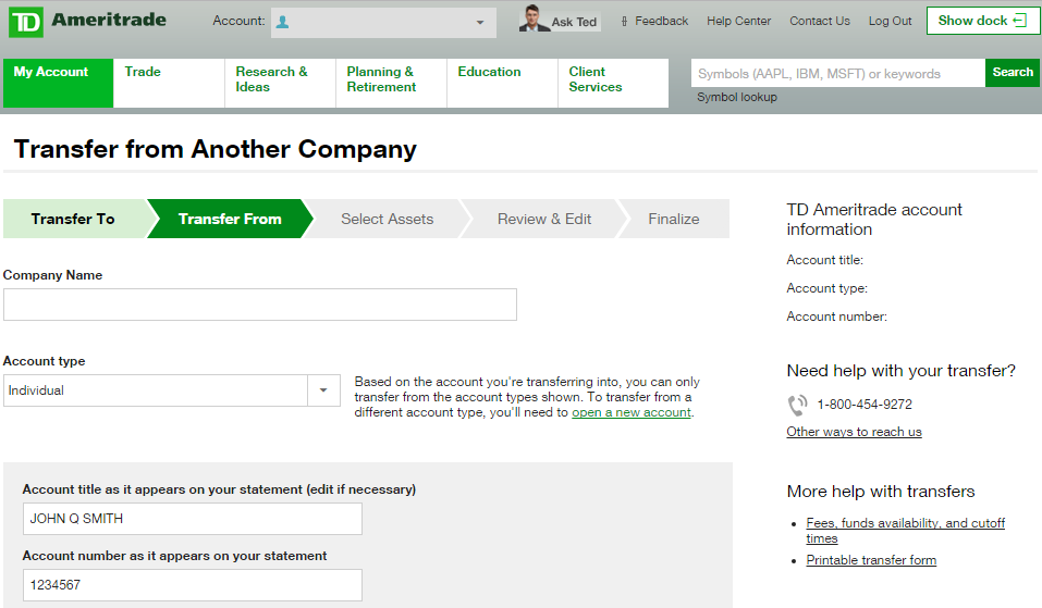 Move Fidelity Account to Schwab, Ameritrade, Vanguard, Etrade
