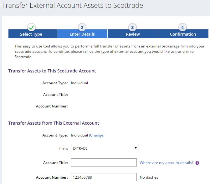 scottrade account title Transfer Etrade Account to Scottrade, Ameritrade, Vanguard, Ally
